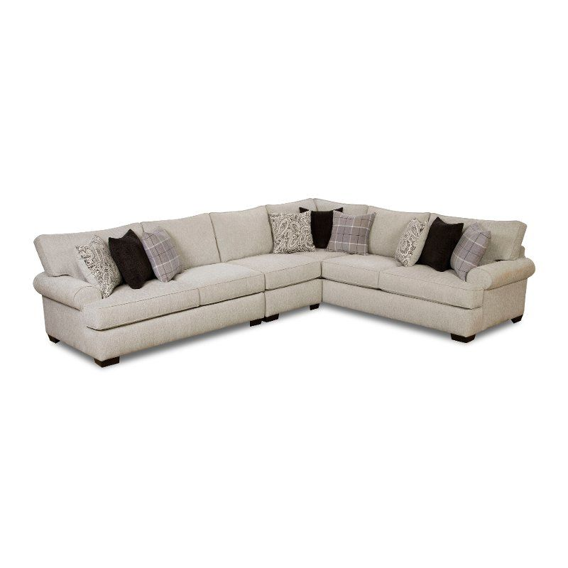 White And Gray 3 Piece Sectional Sofa With Raf Sofa Griffin 3