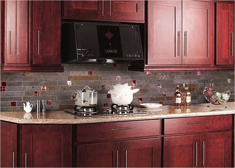 Red backsplash tiles kitchen cabinet pink granite for Red and black kitchen backsplash