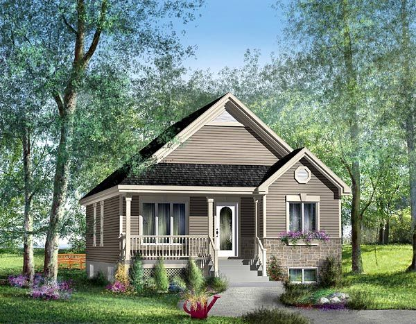 House Plan 49514   Southern    Plan with 953 Sq. Ft., 2 Bedrooms, 1 Bathrooms