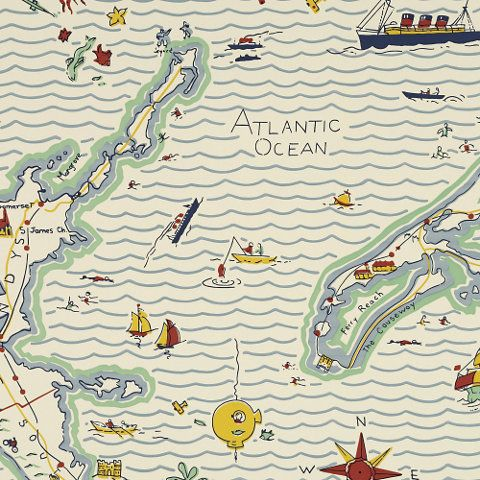 Out To Sea Map – Fogged In - Children's - Wallcovering - Products - Ralph Lauren Home - RalphLaurenHome.com