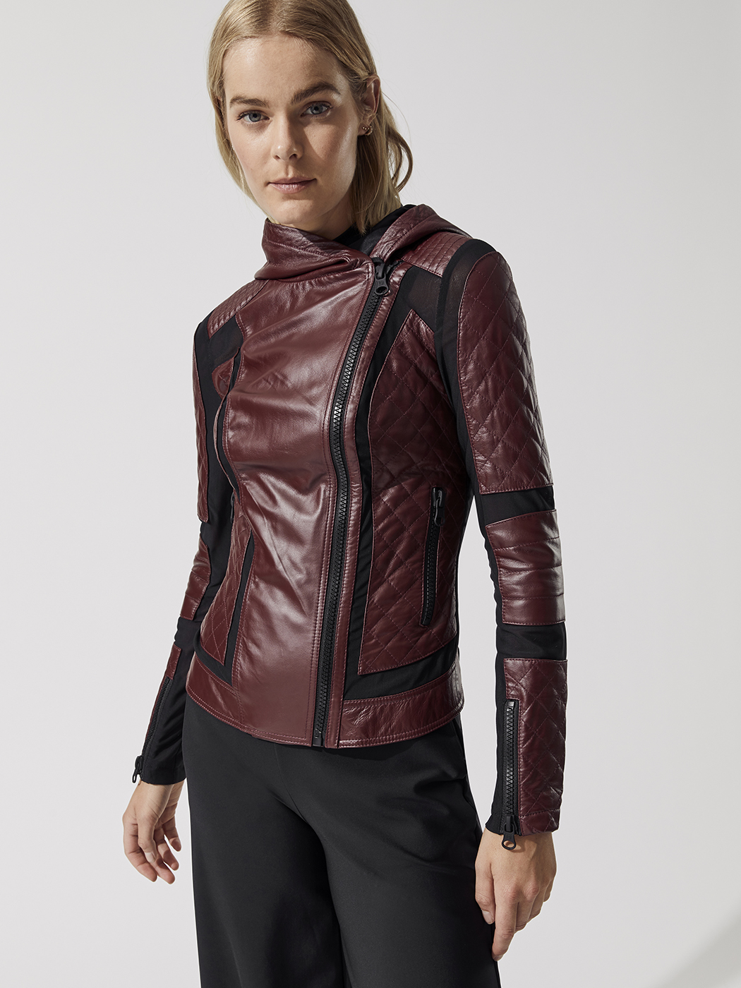 Voyage Hooded Moto Jacket in Envie Active wear for women