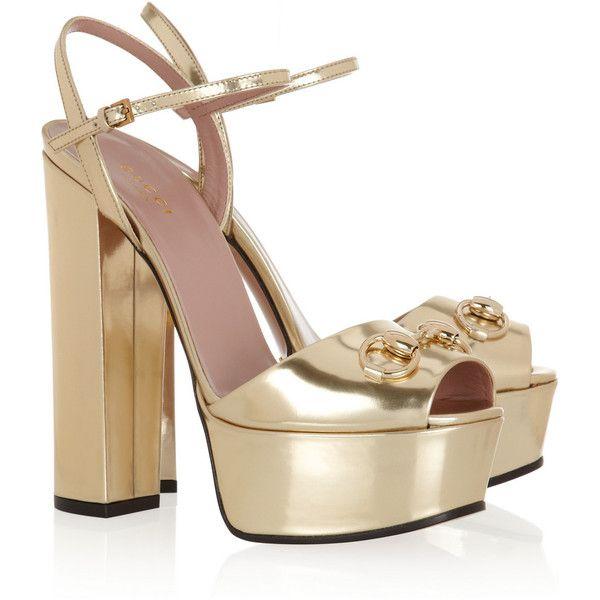 Gucci Mirrored-leather platform sandals