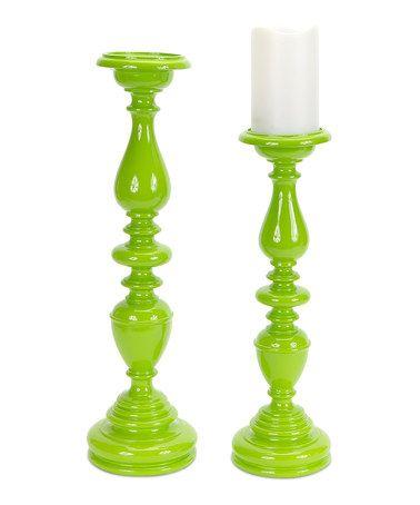 Look what I found on #zulily! Green Candleholder Set #zulilyfinds