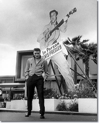 Elvis' first appearance in Vegas at the New Frontier Hotel in April, 1956. He did not go over well and would not perform in Vegas again until 1969.