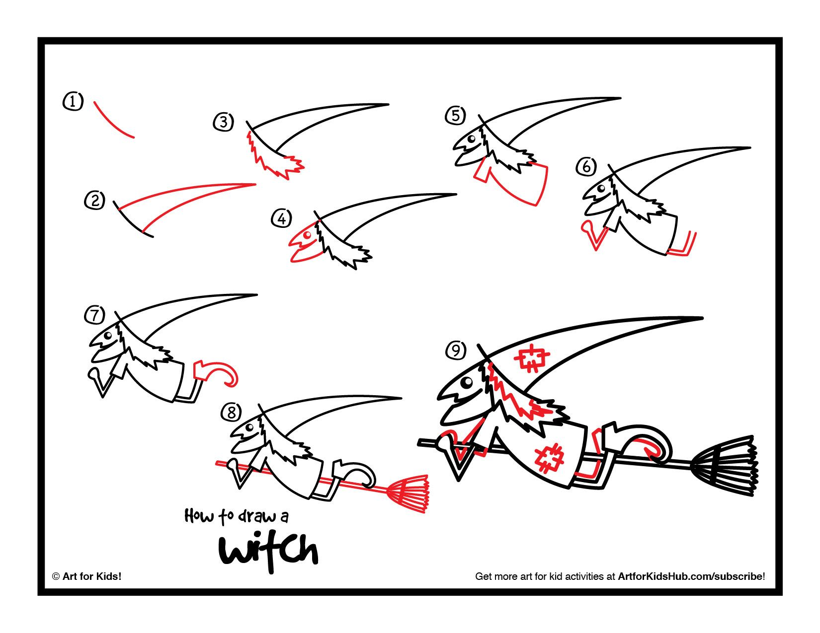How To Draw A Witch Cutout