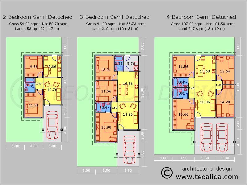 House plans for 2 bedroom semi detached cottages szukaj for Two bedroom semi detached house plan