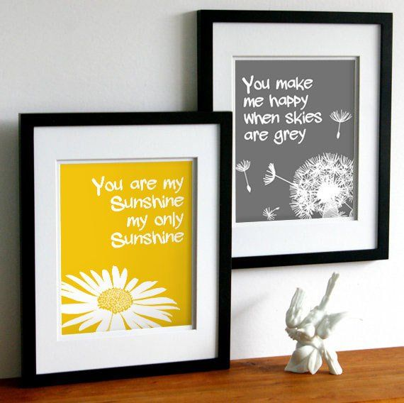 You are my sunshine artwork – Digital Download – Yellow and Grey Art – Set of two Printables
