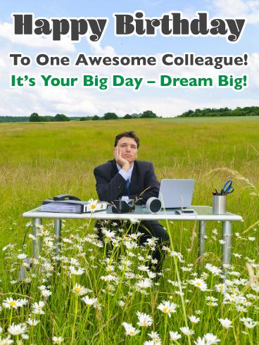 Dream Big - Happy Birthday Card for Colleague   Birthday ...