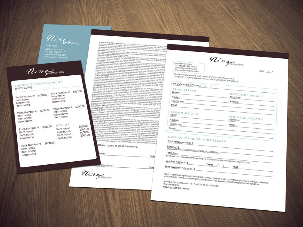 Photography Business Wedding Photography Contract Form And Price