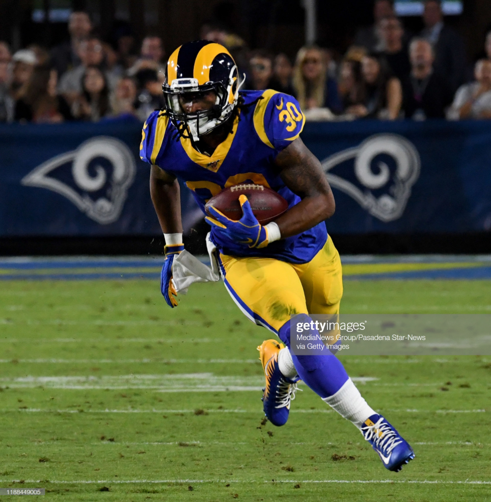 Running Back Todd Gurley Of The Los Angeles Rams Runs For A First Todd Gurley Los Angeles Rams Running Back