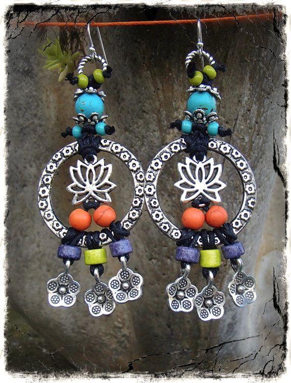 LOTUS HOOP earrings tribal SUN earrings silver chain di GPyoga