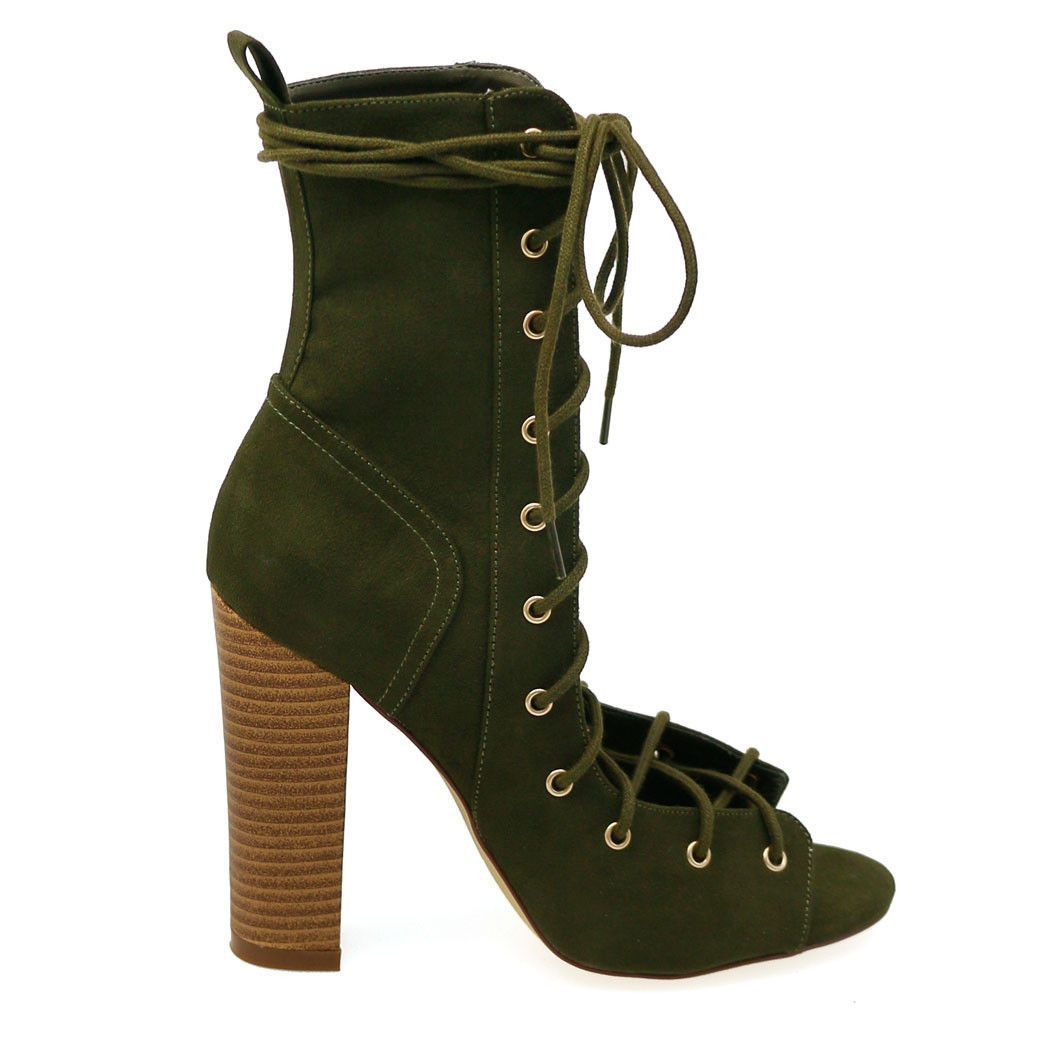 Sage-24 Olive Open Lace Up Chunky Heels