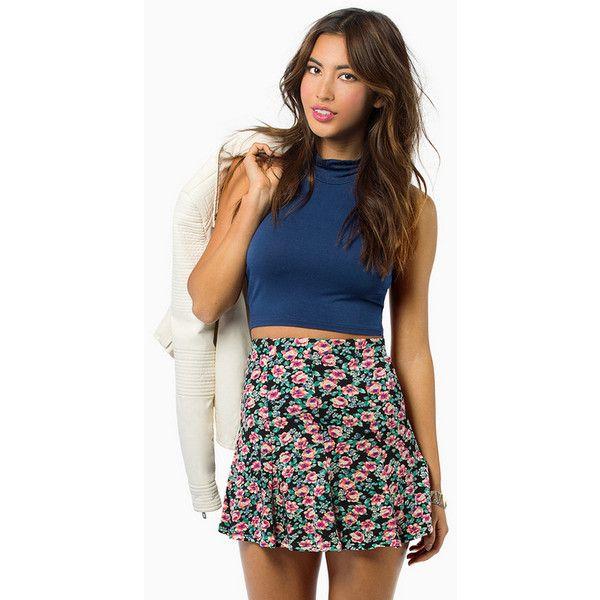 Tobi Jenny Spring Skirt ($14) ❤ liked on Polyvore featuring skirts, black floral, floral knee length skirt, flower print skirt, floral printed skirt, floral print skirt and flared skirt