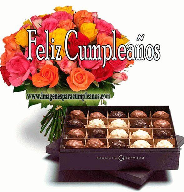 Tarjetas De Cumpleaños Con Flores Y Bombones Feliz