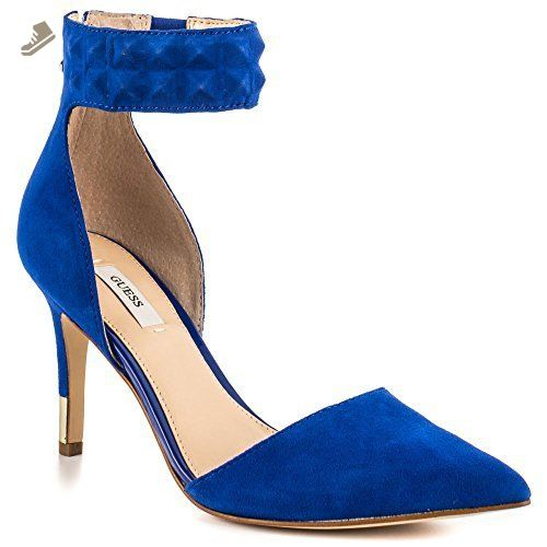 GUESS Womens Evanne Pointed Toe Ankle Strap Leather D-orsay Pumps, Blue,  Size