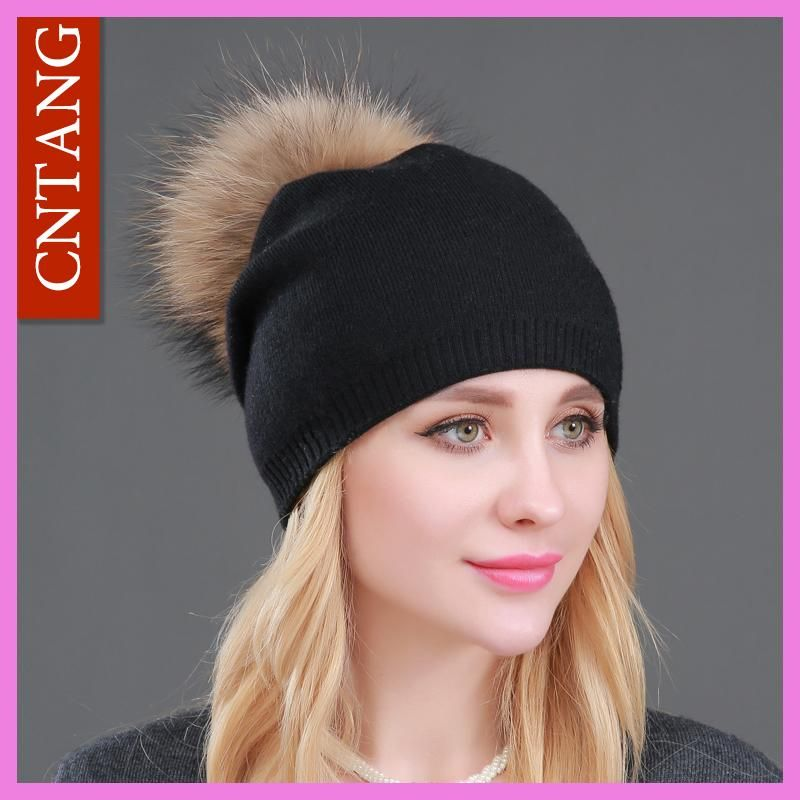 Autumn Winter Knitted Wool Hats For Women Fashion Pompon Beanies Fur Hat  Female Warm Caps With 9b568235a57d