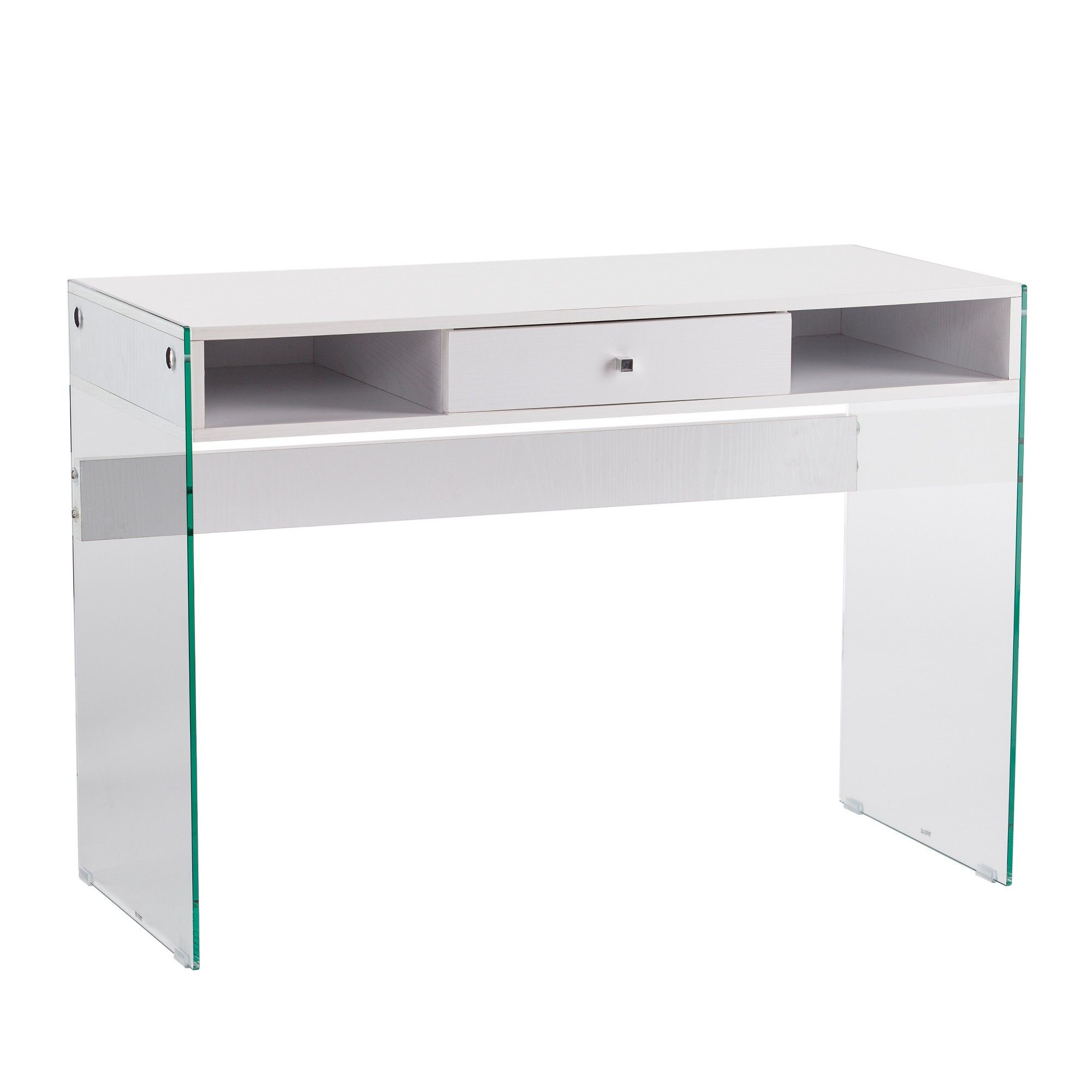 Crane Contemporary Writing Desk With Glass Legs White Aiden Lane Corner Writing Desk Home Office Furniture Desk Desk