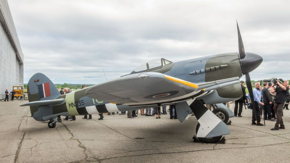 Typhoon and tempest reminiscences aircraft planes and military spectacular typhoon mn235 dressed in 440 squadron markings for the casms 2014 d day remembrance thecheapjerseys Choice Image