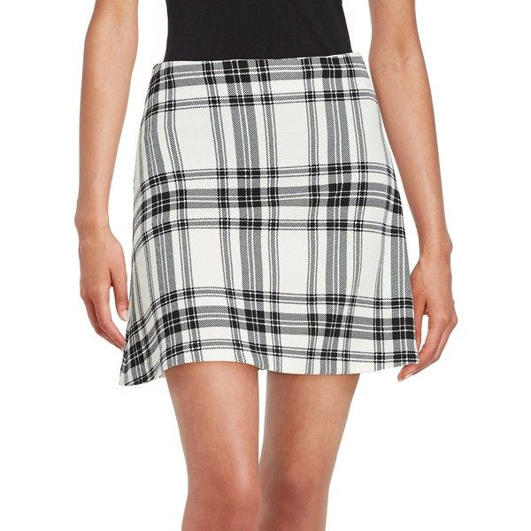 Design Lab Lord & Taylor Plaid Mini Skirt ($44) ❤ liked on Polyvore featuring skirts, mini skirts, mini skirt, tartan skirt, textured skirt, tartan mini skirt and short skirts
