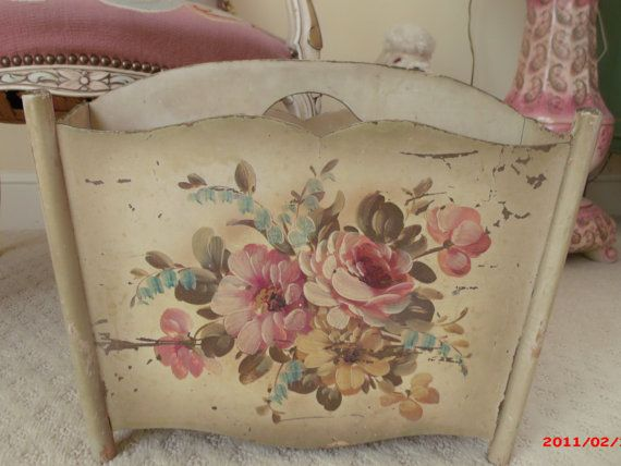 SALE Shabby Chic Cabbage Rose Tole Magazine Rack by chictrezures, $58.88