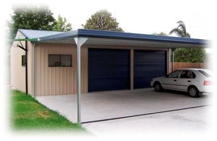 Hunter sheds carport image sheds and garages pinterest for Carport with storage shed attached