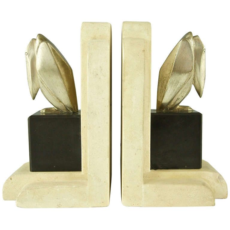 Pair Of Bronze Art Deco Cubist Pelican Bookends By G H
