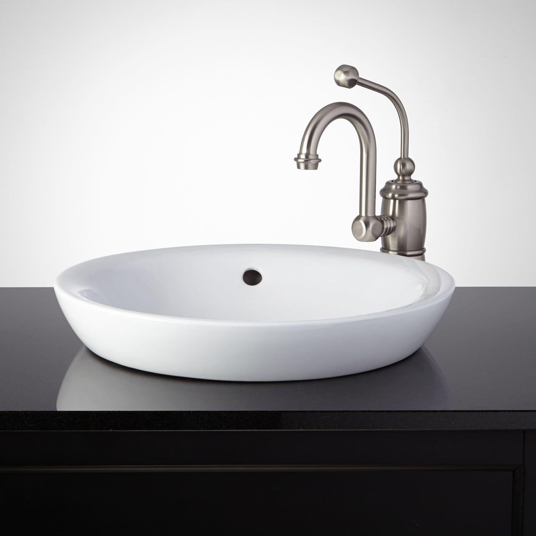 Dionisio Oval Porcelain Vessel Sink In 2021 Semi Recessed Sink Drop In Bathroom Sinks Porcelain Sink