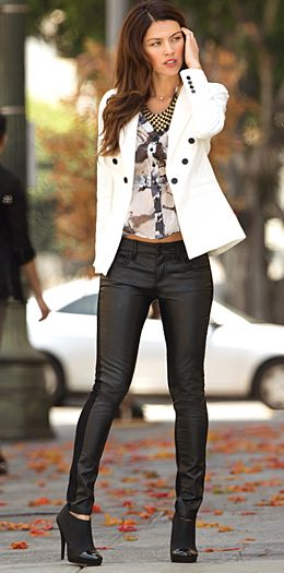 like the white blazer with the black buttons for accent