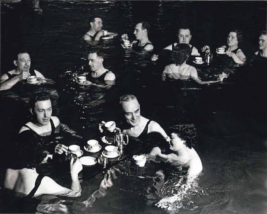 Tea-Time at a spa in England, circa 1940