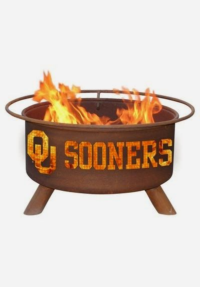 #Oklahoma #Sooners fire pit. #collegefootball #sports #homedecor www.thestyleref.com
