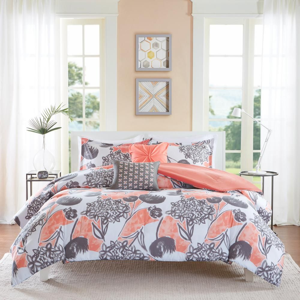 Intelligent Design Lily 5 Piece Coral Full Queen Comforter Set