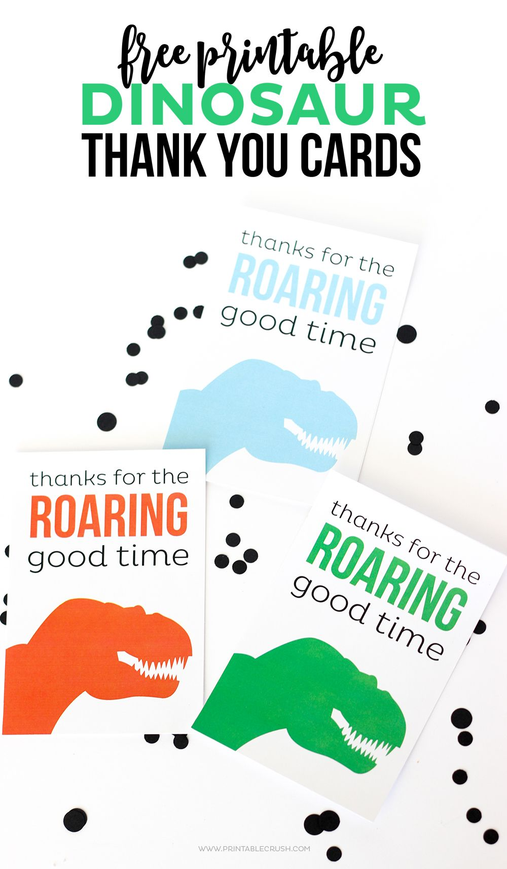 download these cute and free printable dinosaur thank you cards