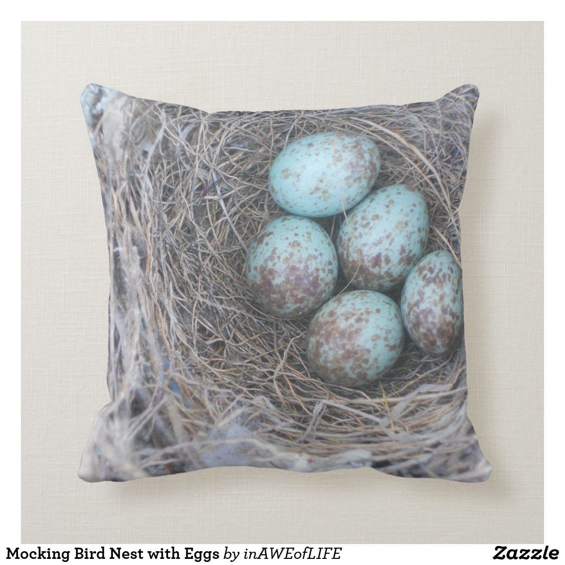 Mocking Bird Nest with Eggs Throw Pillow