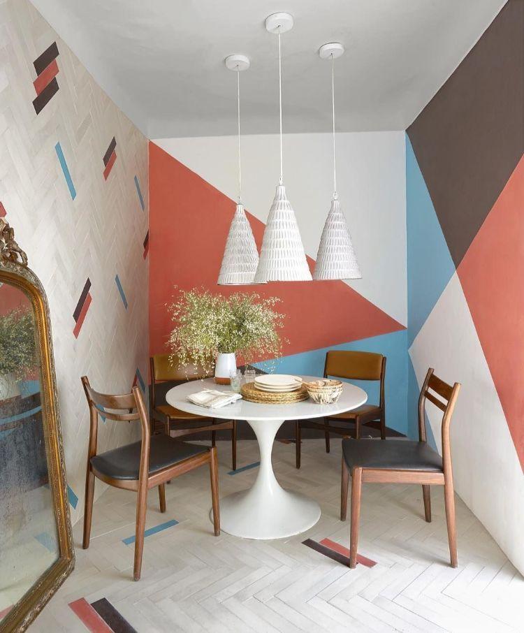 Peinture Murale Géométrique Petite Salle à Manger Cosy Style Marocain