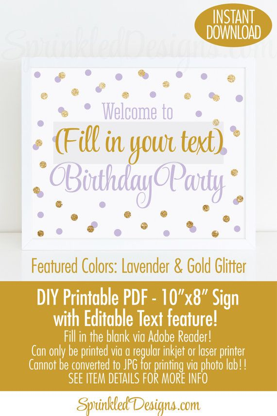 Birthday Party Welcome Sign Printable 10x8 EDITABLE TEXT PDF
