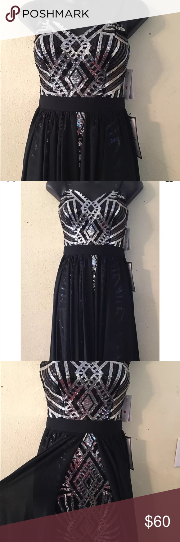 0c58afc5ced City studio black silver sequin handkerchief SZ 1 This is a gorgeous dress  by city studio