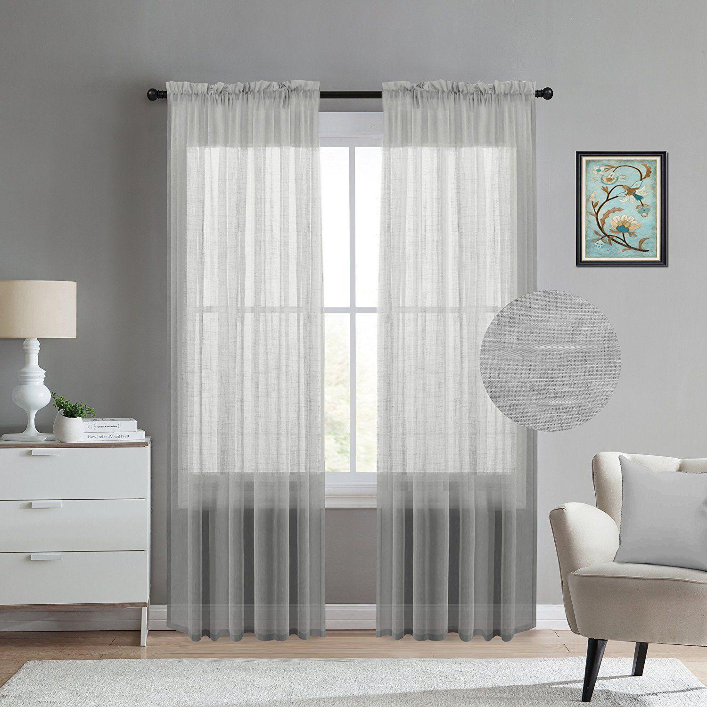 Amazon.com: TURQUOIZE Natural Linen Blended Semi-Sheer