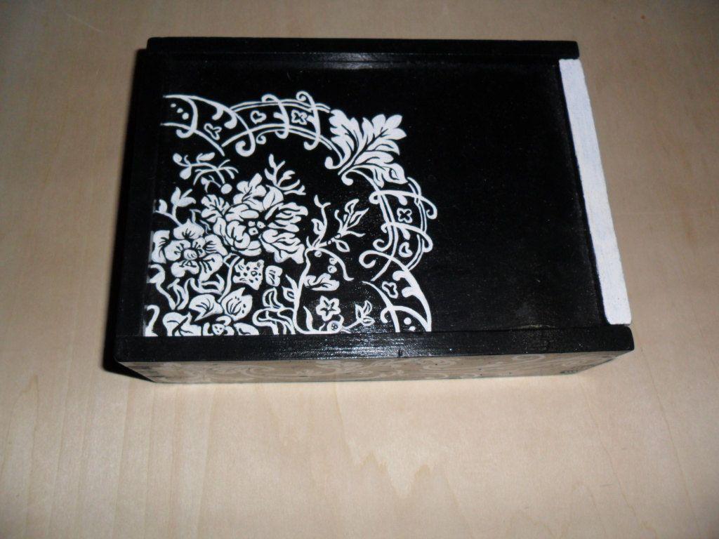 hand draw painted wood box. $20.00, via Etsy.