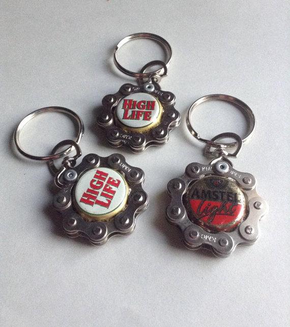 7 UP Vintage Logo Soda Bottle Cap Opener Key Chain Ring Handmade