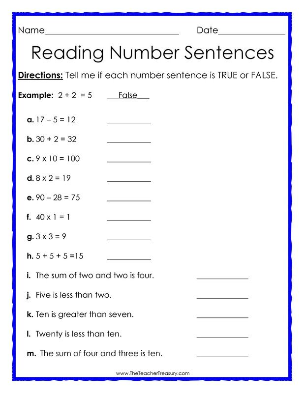 True or False Number Sentences free math worksheet – Math Sentences Worksheets