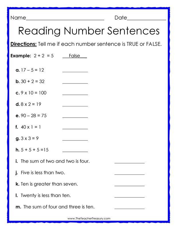 true or false number sentences free math worksheet free math resources free math. Black Bedroom Furniture Sets. Home Design Ideas