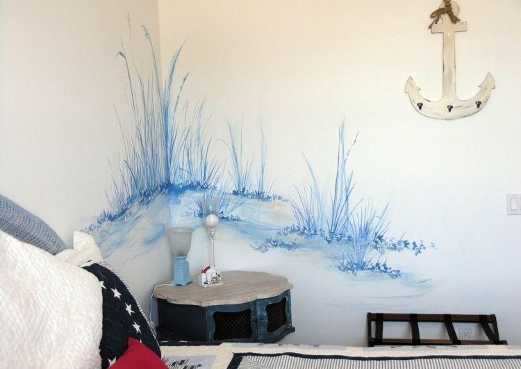wand streichen schlafzimmer wandfarbe weiss blau wandmalerei zart maritim kinderzimmer. Black Bedroom Furniture Sets. Home Design Ideas