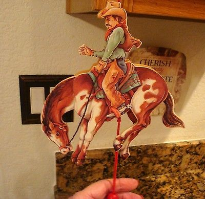 NEW* Wooden String Pull Toy Western Cowboy and Paint Horse Christmas Ornament