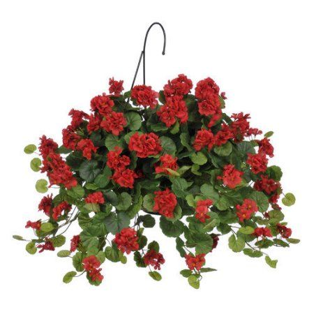 House Of Silk Flowers Inc Artificial Geranium With Hanging Plant