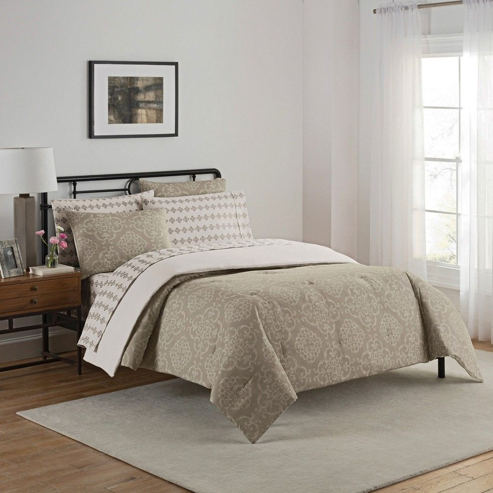 Gray Medallion Lyon Bed in a Bag Set (Queen) 7pc Simmons