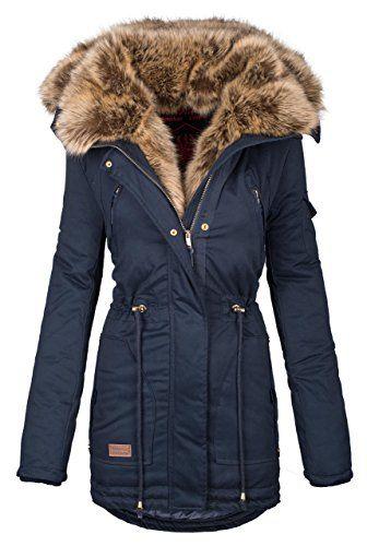 Navahoo warme Damen Winter Jacke Parka lang Mantel