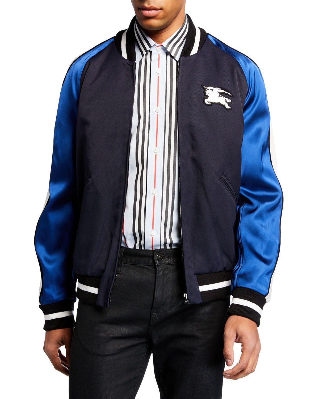 Burberry Logo Appliqued Striped Satin And Twill Bomber Jacket In Navy Modesens Varsity Jacket Burberry Men Mens Jackets [ 1500 x 1200 Pixel ]