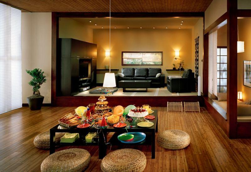 déco japonaise, poufs ronds en rotin et meubles en bois repeint en - meuble en bois repeint