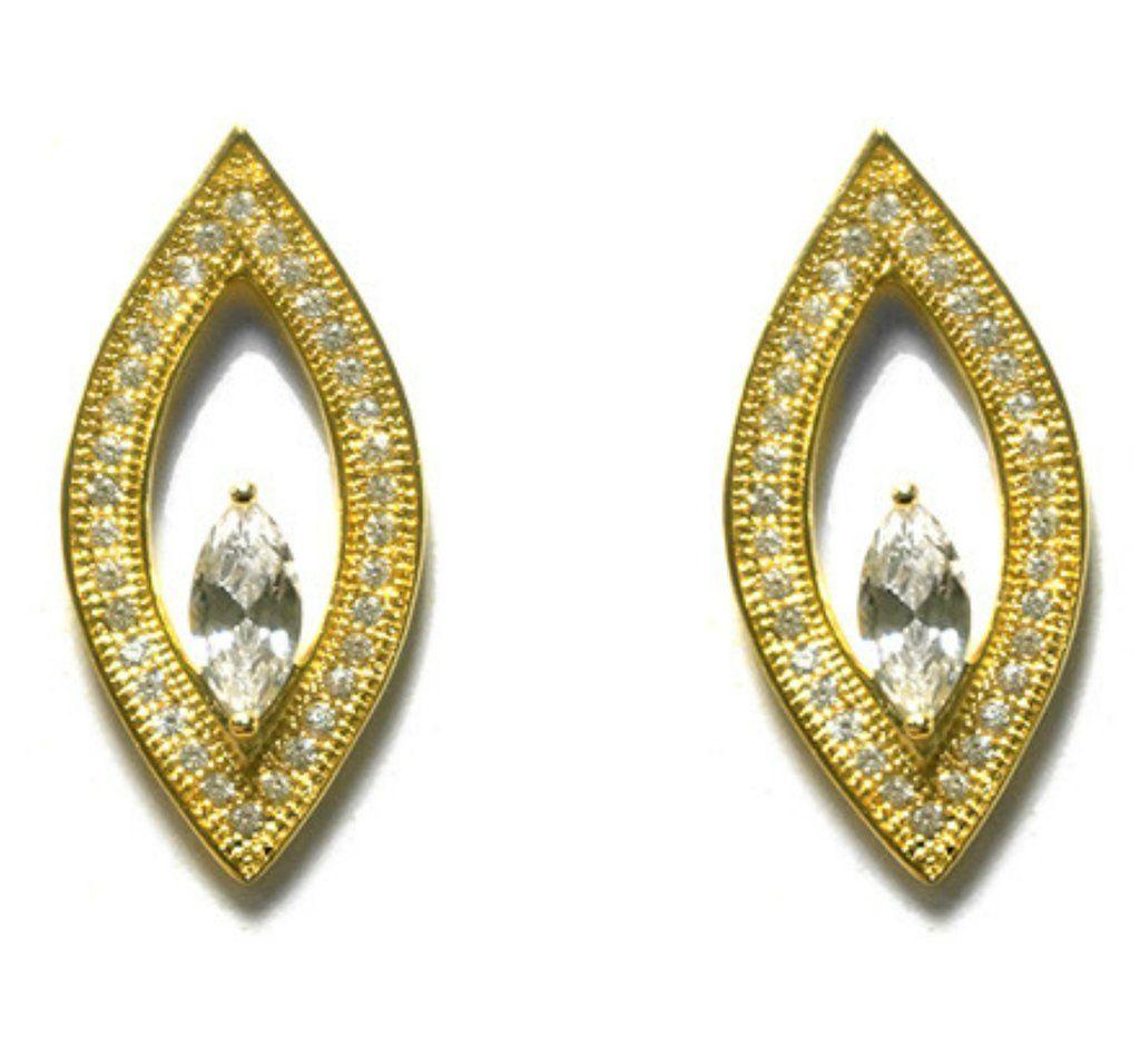 Ideh Fashion Gold CZ Stud Earrings | Cubic Zirconia | Gold