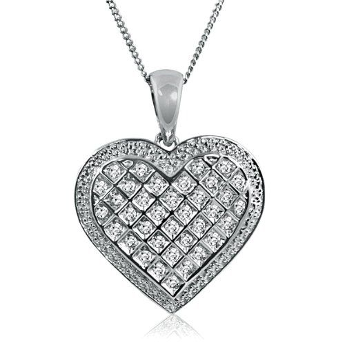 Sterling silver white round diamond heart pendant 110 cttw sterling silver white round diamond heart pendant 110 cttw necklace i want pinterest diamond heart round diamonds and sterling silver mozeypictures Choice Image
